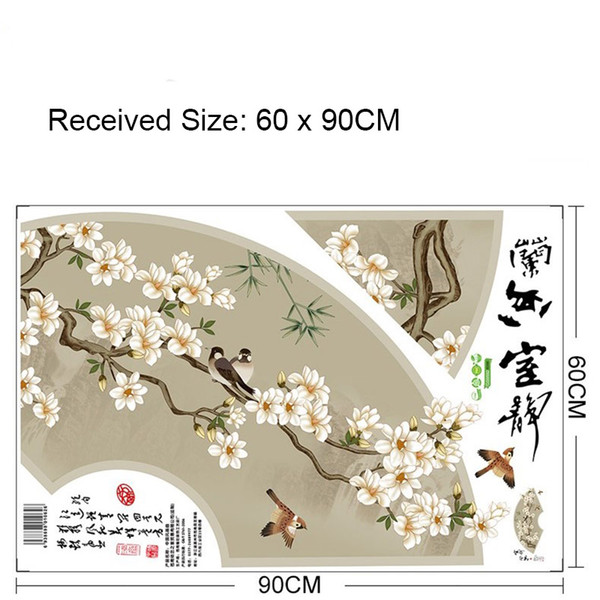 Chinese Traditional Fan Decoration Painting Wall Decals Flowers Bird Tree Calligraph Wall Mural Poster Art Home Decor Appliques