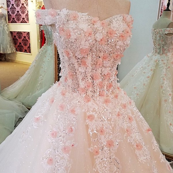 2019 Newest Design Ivory Bride Dresses With 3D Pink Flowers Off Shoulder Lace Up Back Beading Crystals Wedding Dress Ball Gown China Online