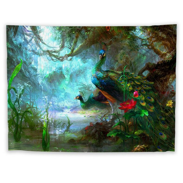 Peacock Animal Wall Hanging Tapestry Psychedelic Bedroom Home Decoration