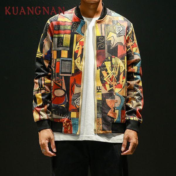 KUANGNAN Japon Style Hip Hop Bomber Veste Hommes Vêtements 2018 Japanese Streetwear Hommes Veste Manteau 5XL Hommes Vestes Et Manteaux