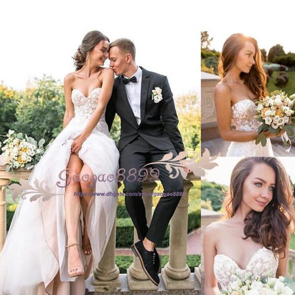 2019 gorgeous summer Garden A-Line Wedding Dresses lace Bridal Gowns sweetheart Robe De Soiree lace up Boho Wedding gowns robe de mariée