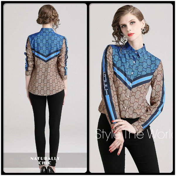yuhanzhenbang / Hot Contraste listrado cor impressa camisas Fall Primavera Runway luva longa das mulheres Blusas Office Lady Negócios lapela Neck Magro shirt Tops