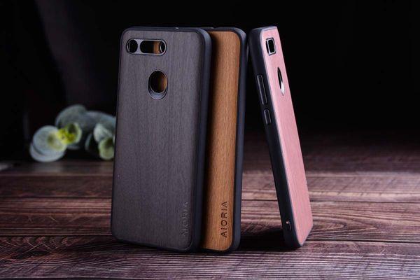cas de motif en bois pour une vue d'honneur Huawei 10 20 souple TPU + dur PC + peau en cuir PVC