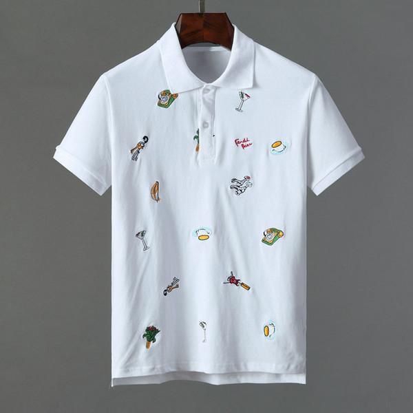 Мужская летняя футболка с коротким рукавом с принтом # 0103 Slim Fit Бизнес-поло Уличная мода Топы Марка Мужские рубашки Спортивные повседневные рубашки для гольфа