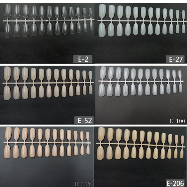Wholesale 50pcs/set Round Colorful French Fake Nail Art Tips Professional Stiletto Long False Nails Acrylic Nail Tip Display
