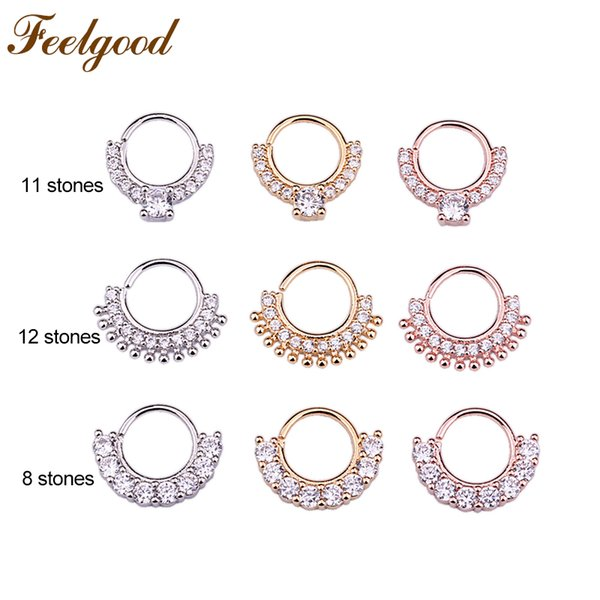 wholesale 10pcs/lot CZ Nose Piercing Septum Ring Hoop Daith Earring Tribal Indian Septum Piercing Jewelry Wholesale