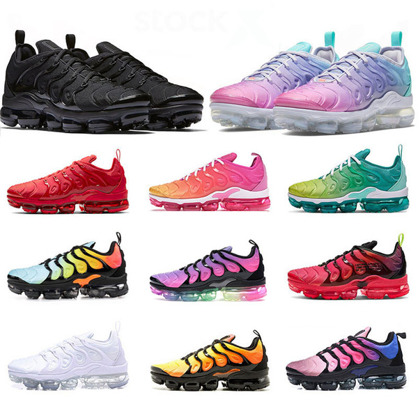 top popular TN Plus BIG SIZE 13 tn women mens running shoes High Quality trainers sports sneakers Pink Black Triple White Hornets Active runners shoes 2021