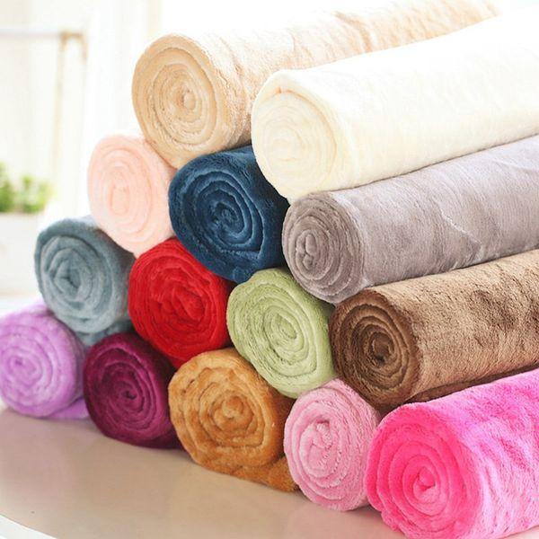 top popular 50*70cm Warm Flannel Fleece Towel Blankets Soft Solid Blankets Bedspread Plush Winter Summer Throw Blanket for Bed Sofa LJJA3225-23 2021