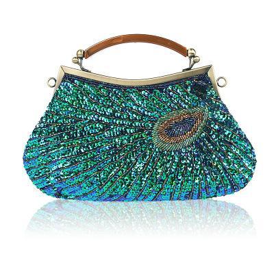 New European and American fashion ladies ethnic style retro beaded dinner bag dress bag shoulder diagonal handbag handbag female