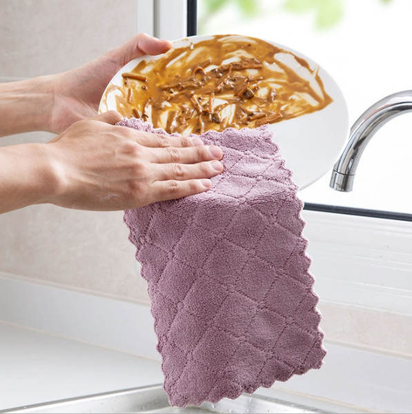 Dish Towels Absorbent Microfiber Wipe Towel Household Cleaning Towel Table Kitchen Washing Cloth Kitchen Tools Free Shipping YW3664