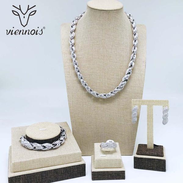 Viennois 실버 / 골드 컬러 드롭 귀걸이 목걸이 여성 기하학적 파티 보석 세트에 대 한 설정
