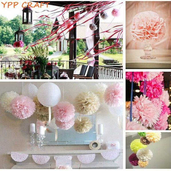 "Wholesale-YPP CRAFT 4"" 6"" 8"" Mixed Wedding Decorative Props Tissue Paper Pompoms Pom Poms Balls Wedding Party Home Decor 30pcs"
