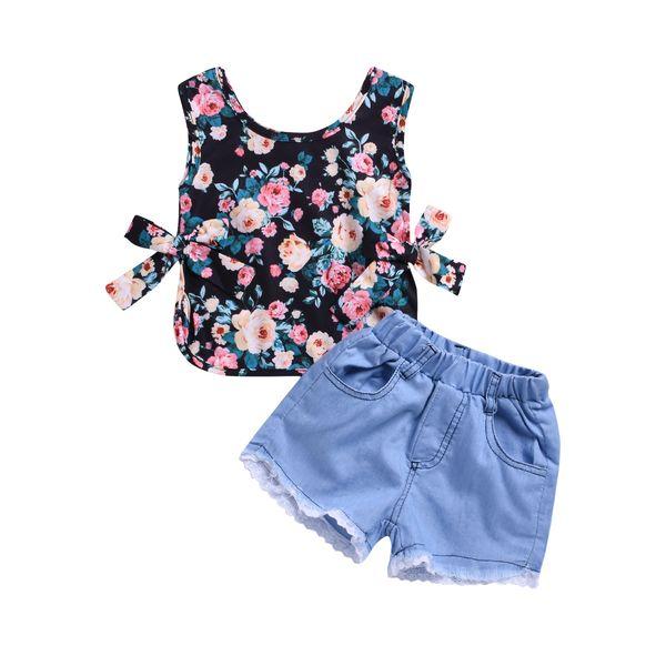 Retail girls boutique outfits summer 2pcs jeans short set sleeveless floral top+lace denim shorts girl suit baby tracksuit designer clothes