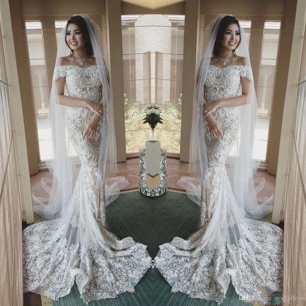 2019 vintage full lace mermaid wedding dresses with detachable train robes de soirée bridal gowns Wedding Dress