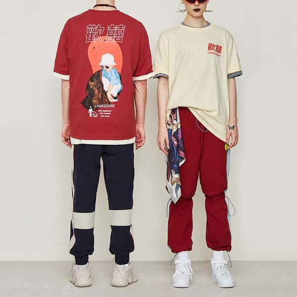 Designer Marque Chinese Style Hip Hop Rouge T-shirts des femmes des hommes caractères chinois Imprimer l'été à manches courtes T-shirt Top B101647V Qualité