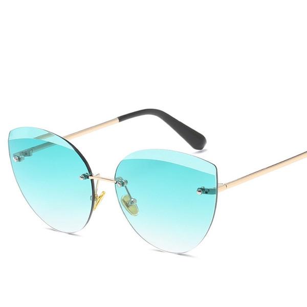 New Women Sunglasses Ocean Lenses Fashion Rimless Sun Glasses Ladies Cat Eye Oversized Eyewear Sun Glasses Female Sunglass 2019