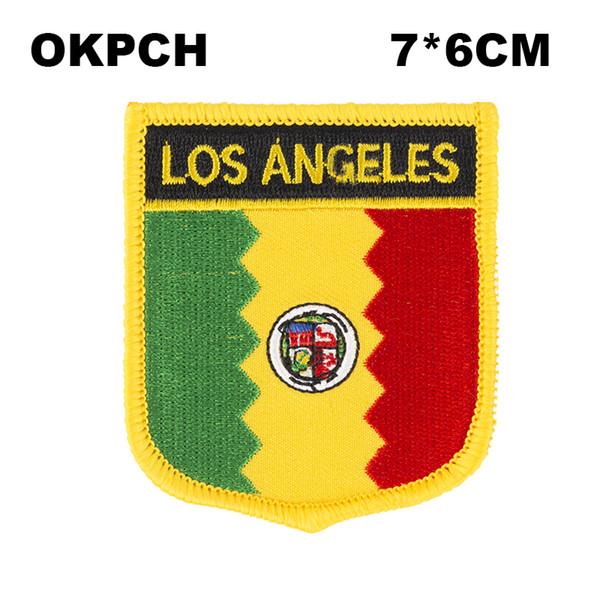 Ferro do bordado da bandeira de Los Angeles em emblemas dos remendos do bordado do remendo para a roupa