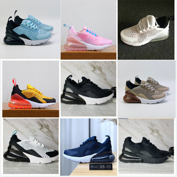 best selling 2020 New 27C air Cushion Knit Breathable Children Running shoes boy girl young kid sport Sneaker size 28-35