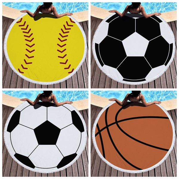 Basketball baseball tasseled round beach towel football vollyball bathroom towel Polyester fiber Quick Drying Swimming Bath Sports robes B11