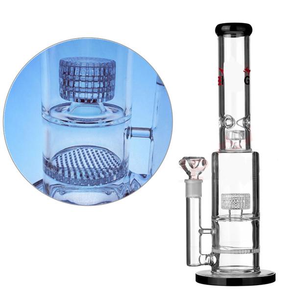 Glass Bong 16 inch honeycomb matrix showerhead Percolators glass water pipe 7mm thick durable dab oil rig tall big water bong 18mm bowl