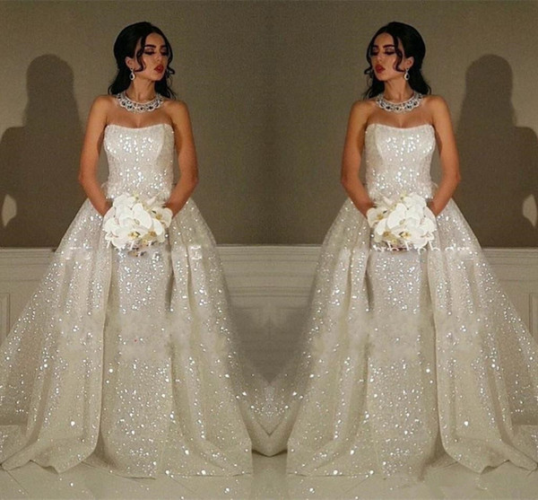 Sparkly Sequined Bling Bling Wedding Dresses with Overskirts Strapless Zipper Backk Formal Special Party Gowns for Bride