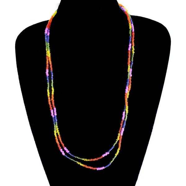 Fashion Bohemian Necklace Silver Buddha Multi Glass Beads Long Necklace Beaded Item Clavicle Chain Necklaces for Women Party Necklace Gift
