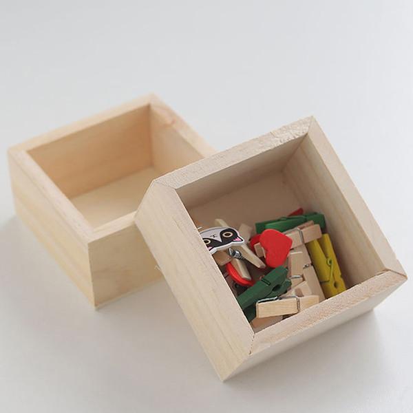Square Wooden Storage Boxes Home Table Jewelry Holder Organizer Case Garden Succulent Planter Flower Pot