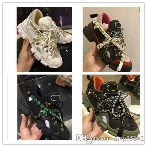 2019 роскошные кожаные мужские и женские повседневная обувь высокого качества тенденция с цветом смешанные модные кроссовки дедушка кроссовки размер