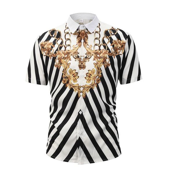 2019 German brand clothing dress 3D printing Medusa shirt men's short-sleeved party club designer shirt dress
