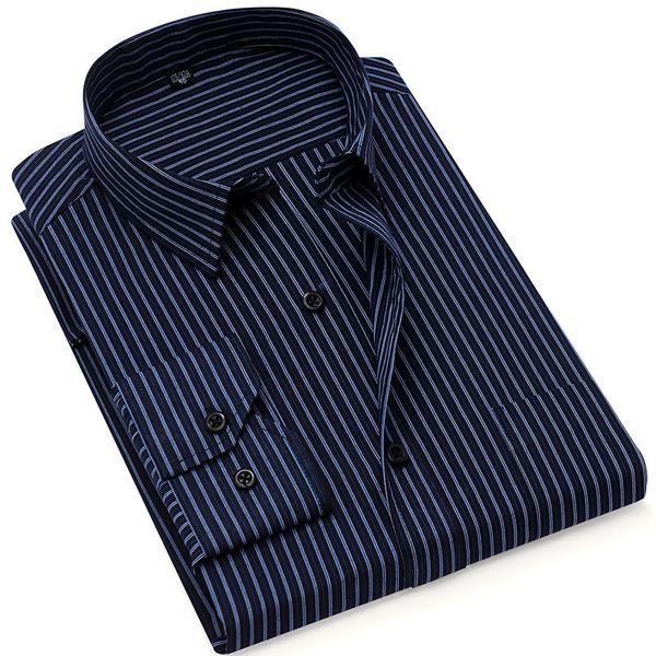 Autumn New Striped Dress Formal Fashion Long Sleeve Brand Business Men Casual Shirt Regular Fit Plus Size 5xl 6xl Q190518