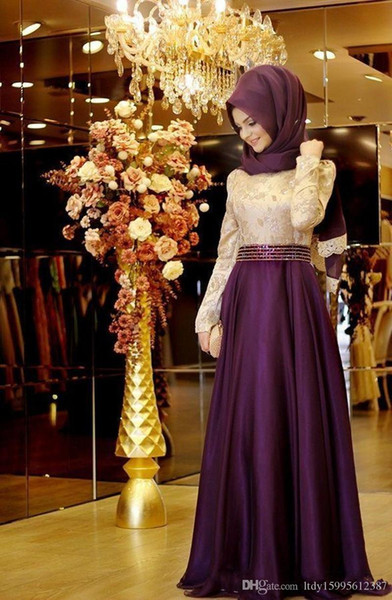 2019 New Hot Sale A-Line High Neck Middle East Evening Dresses With Hijab Full Long Sleeve Muslim Party Gowns Arabic Prom Dresses 164