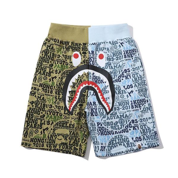 19ss Novo Um Banho de Macaco aape Ape mens dos homens do Japão Tubarão Mandíbula Shorts Camo Calças de Impressão de Cores dolce verão vetements tamanho m-xxl