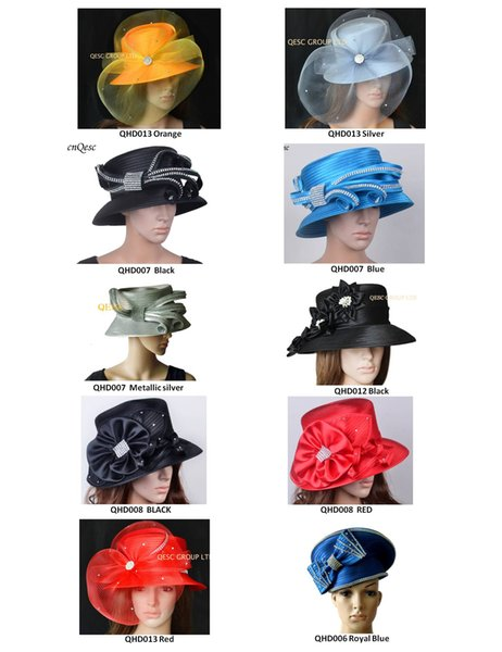 top popular All Year Around Church Dress Formal Hat wedding Kentucky Derby Hat hair fascinator with Rhinestones band. 2019