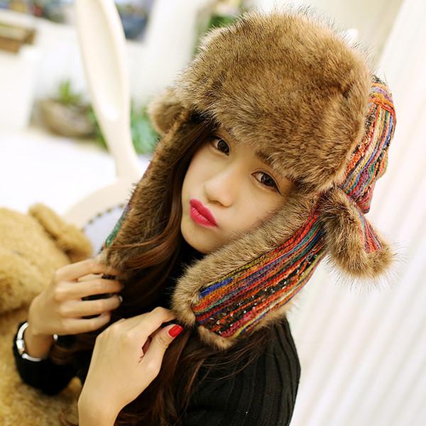 La Sra. Rainbow, más gruesa y cálida protección para los oídos, gorras de nieve, equipo de invierno al aire libre y sombreros de cachemira Gorra de esquí para hombre