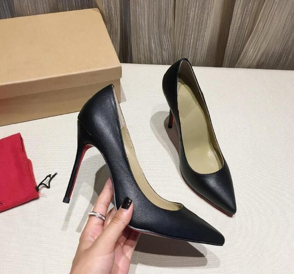 Christian Louboutin Moda zapatos de mujer tacones altos rojos 8.5 cm 10.5 cm nude negro rojo cuero punta puntiaguda zapatos poco profundos zapatos de vestir
