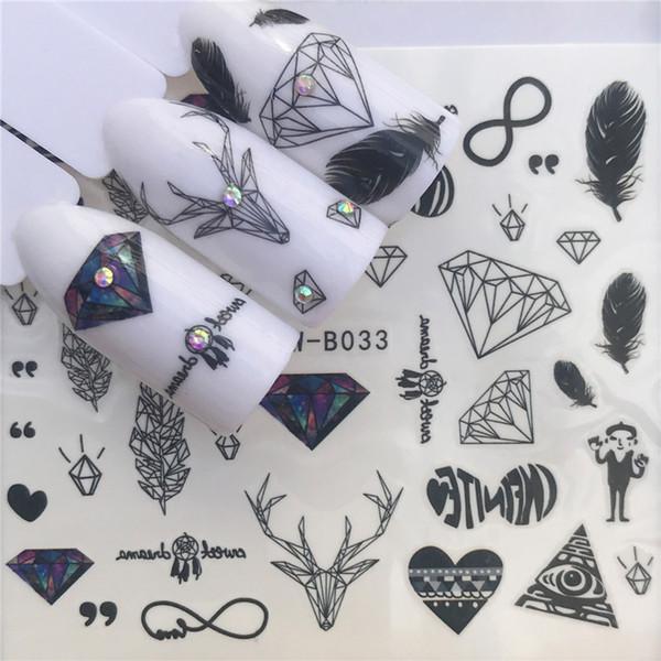 28 projetos nail sticker set black dreamcather pena decalque transferência de água slider para unhas art decor
