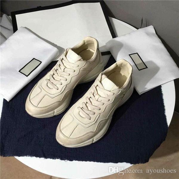 Wholesale Rhyton sapatilha de couro dos homens sapatos de grife com Morango boca onda Tigre Web imprimir Vintage Trainer mulheres Sapatos de Grife