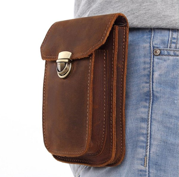 Genuine Leather Mens Wallet Vintage leather purse small bag top layer leather multi-function wearable belt phone bag