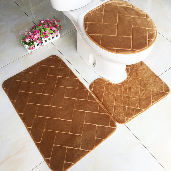 Amazing 2019 Modern Embossing Solid Color Bathroom Mats Toilet Carpet Toilet Anti Skid Mat Sets Bath Mat Closestool Cover Floor Rug From Cindy668 18 5 Gmtry Best Dining Table And Chair Ideas Images Gmtryco