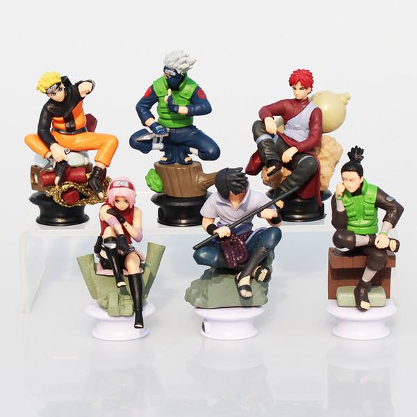 6pcs/set Naruto Uzumaki Naruto Uchiha Sasuke Kakashi Sakura Gaara Action Figures Toys Pvc Dolls 7~10cm Great Gift Y19062901