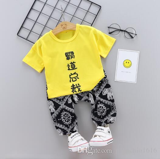 1-2-3 years old children's clothing boy children short-sleeved suit baby clothes cotton six months baby T-shirt shorts thin summer
