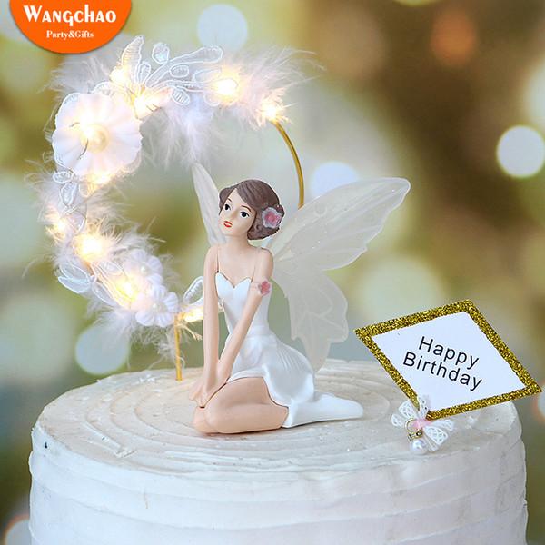 Ange joyeux anniversaire gâteau Topper 3 dessins beaux anges avec fer guirlande dentelle plume romantique décoration de gâteau de mariage