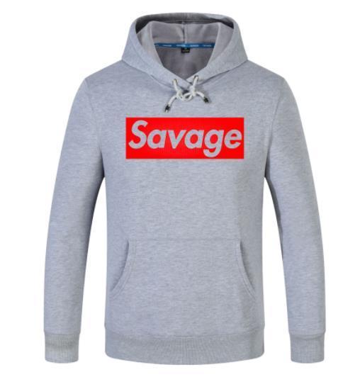 SAVAGE Stampa Mens Designer Pullover manica lunga con scollo a risvolto con cappuccio Felpe casual Abbigliamento maschile
