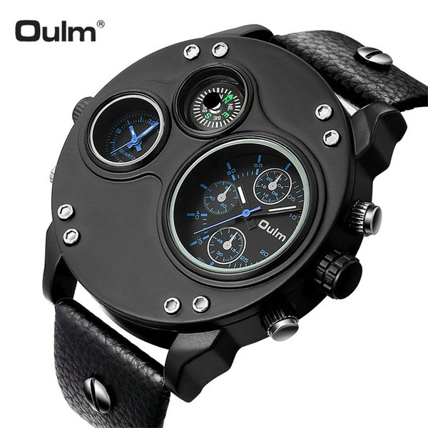 OULM Classic Oversize Quartz Watch Men 2 Time Zone Dial Multifunction Leather Strap Outdoor Sporty Style Wristwatches