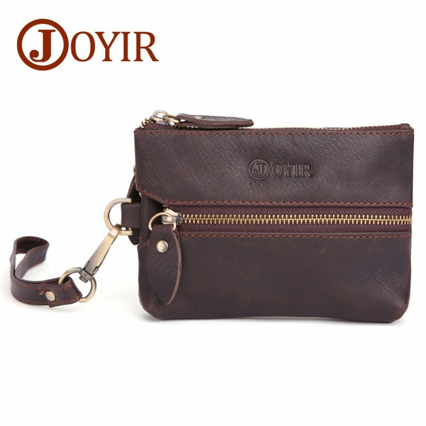 Joyir Genuine crazy horse Leather Men Key Wallet Zipper Housekeeper Pouch Keychain Vintage Style Walet Coin Purse Card Holder cover car case