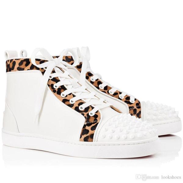 Famoso designer Spikes High Top delle scarpe da tennis inferiore rossa Orlato Mens piano casuale Walking Uomini di lusso, donne inferiori rosse Scarpe con originale