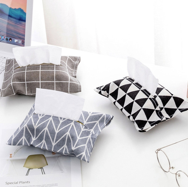 Removable Tissue Case Box Cloth Cotton Linen Rectangle Home Office Car Decor Napkin Paper Organizer Holder