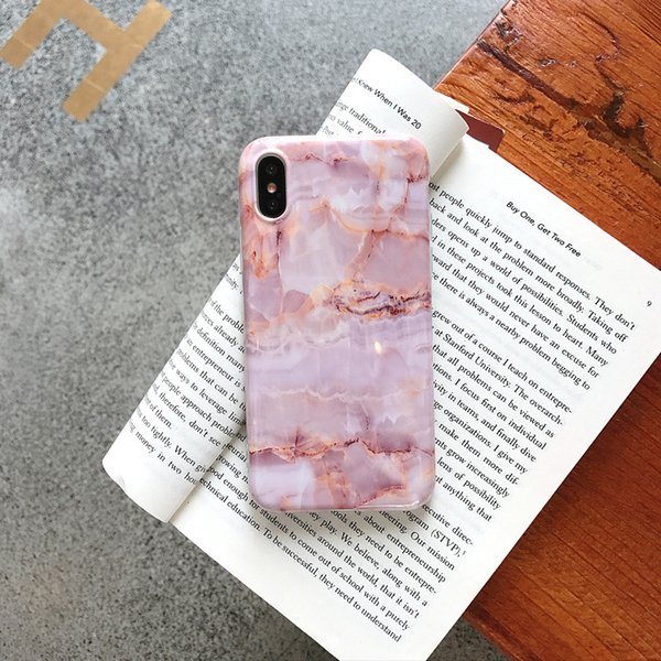3D Vintage Marble Patter Design Pink Phone Case for IPhone X XS 8 7 6 S 6s Plus Cases Luxury Soft Silicon Bumper Frame Cover New