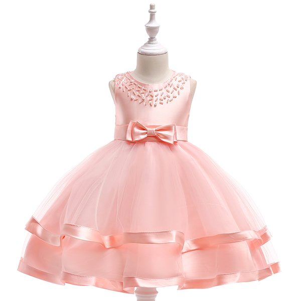 2019 nouveau gâteau ruban robe mousseuse de perles autour du cou robe de princesse vêtements pour enfants fleur fille de gros robe de mariée