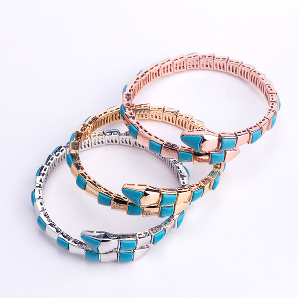 Fashion Brand Jewelry Lady Brass Mother of Pearl Turquoise Single Circles Snake Snakelike 18K Gold Wedding Engagement Open Bracelets 3 Color
